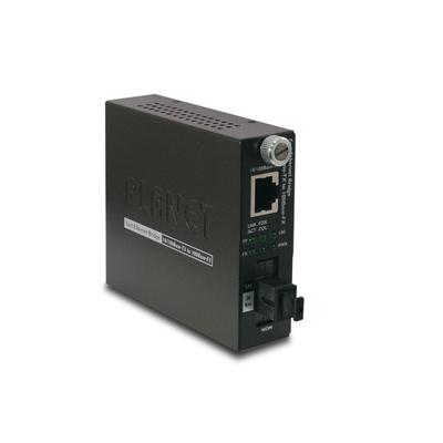 PLANET 10/100Base-TX to 100Base-FX (SC WDM, SM) Smart- TX: 1310nm-20km Media converter - Zwart