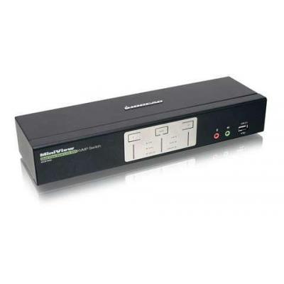 Iogear KVM switch: 2 ports, DVI, USB, 2560 x 1600, 2.1 Stereo, Microphone - Zwart