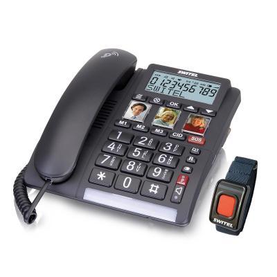 SWITEL Alphanumeric phone book, 99 entries, 40 dB, LED, 737g, black + remote emergency call unit