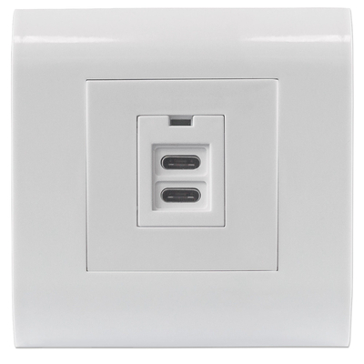 Intellinet 2-Port USB-C Wall Outlet with Faceplate, Two Charging Ports, 5 V / 2.1 A Output, 80 x 80 European .....