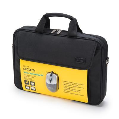 Dicota laptoptas: Value Toploading Kit - Zwart