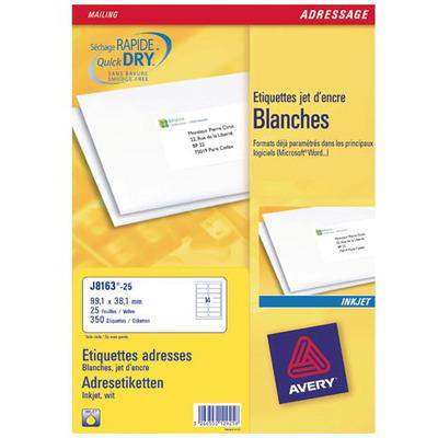 Avery adreslabel: Adresetiketten, Inkjet, Wit, 350 pcs.