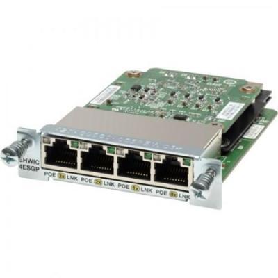 Cisco netwerkkaart: 4-port Gigabit EtherSwitch 10/100/1000BASE-TX autosensing EHWIC with POE - Zwart, Groen, .....