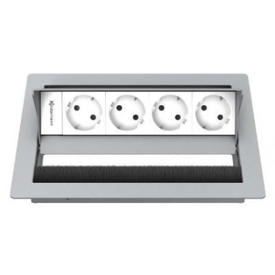 Kindermann 4-fold, 4 x mains Inbouweenheid - Zilver, Wit