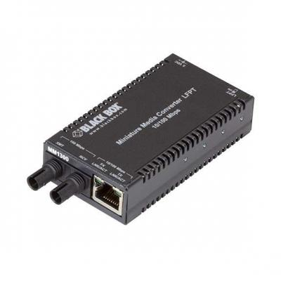 Black Box MultiPower Miniature - 10-/100-Mbps Copper to 100-Mbps Fiber, 1300-nm Multimode, 2 km, ST Media .....