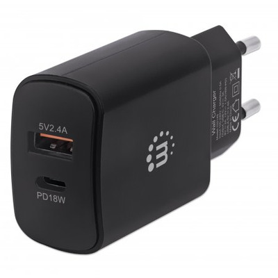 Manhattan Wall Charger (Euro 2-pin), USB-C & USB-A ports, USB-C up to 18W / 3A, USB-A up to 5V / 2.4A, Black, .....