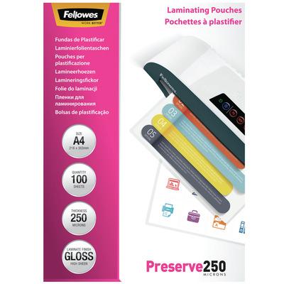 Fellowes 250µm, A4, 210 x 1 x 297mm Laminatorhoes - Transparant