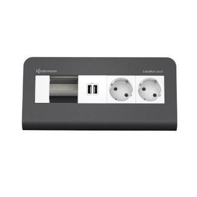 Kindermann Desktop Module, 4f RAL2 x mains USB Inbouweenheid - Grijs, Wit