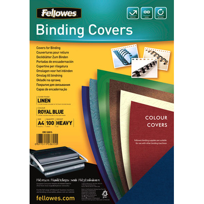 Fellowes binding cover: Dekbladen linnen FSC - donkerrood A4 - Blauw
