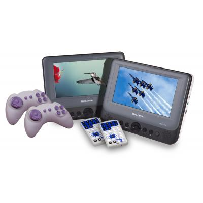 """Salora portable DVD player: Een draagbare DVD speler met twee afzonderlijk te gebruiken 7"""" (18CM) schermen. - Grijs"""