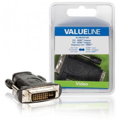 Valueline : DVI - HDMI adapter DVI mannelijk - HDMI input zwart