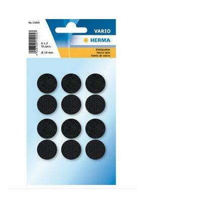 Herma bureaulegger: Hook + loop black Ø 19 mm - Zwart