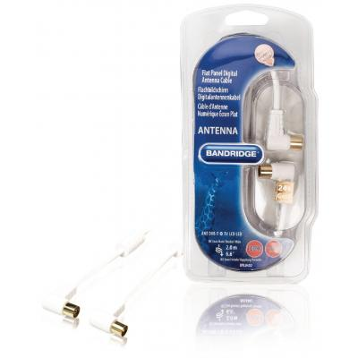Bandridge coax kabel: 2m, Coax, M/F, White - Wit