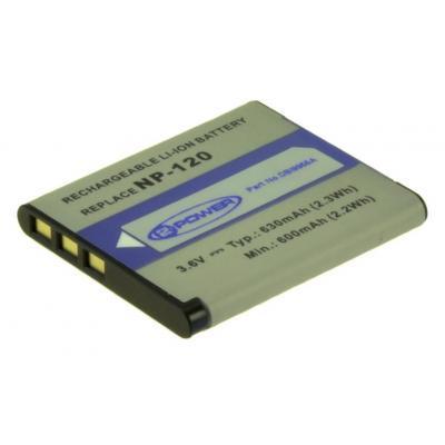 2-power batterij: Digital Camera Battery, Li-Ion, 3.6V, 630mAh, Grey - Grijs