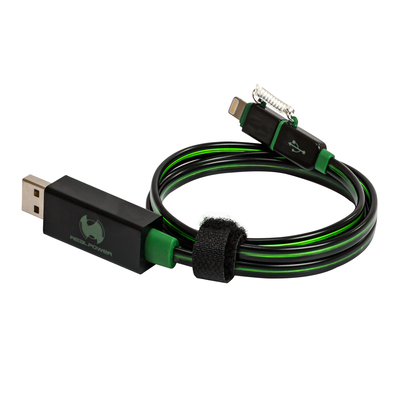 RealPower USB A/Lightning 0.75m - Zwart,Groen