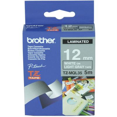 Brother labelprinter tape: TZe-MQL35 - 12 mm wit op lichtgrijs - mat gelamineerd (5 m)