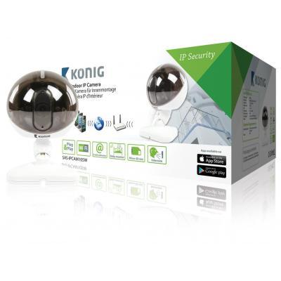 König beveiligingscamera: Indoor, IP, M-JPEG, CMOS, 25fps, IEEE 802.11b/g/n, microSD, iOS/Android, White - Zwart, .....