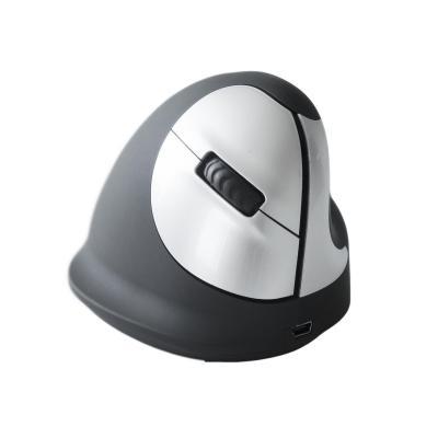 R-Go Tools HE Mouse Wireless - Medium - Rechtshandig Computermuis - Zwart, Zilver
