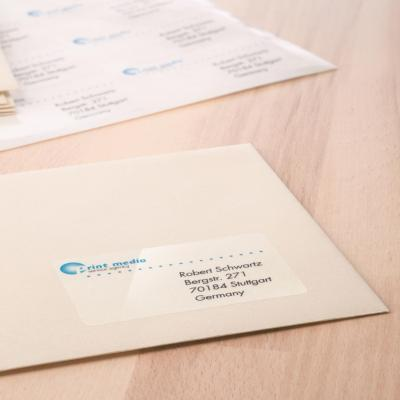 Herma etiket: Labels transparent crystal-clear A4 63.5x38.1 mm transparent clear film glossy 525 pcs. - Transparant