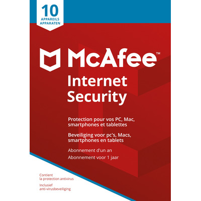 Mcafee algemene utilitie: Internet Security 2018, 10 Devices (Dutch / French)