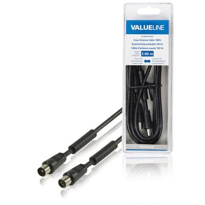 Valueline Coax antennekabel, 100dB, coax mannelijk - coax vrouwelijk, 2.00 m, zwart Coax kabel