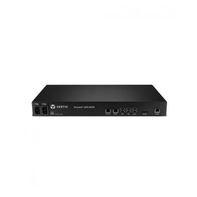 Vertiv console server: Avocent ACS 8000 consolesysteem met 16 poorten en dubbele AC-voeding en analoge modem