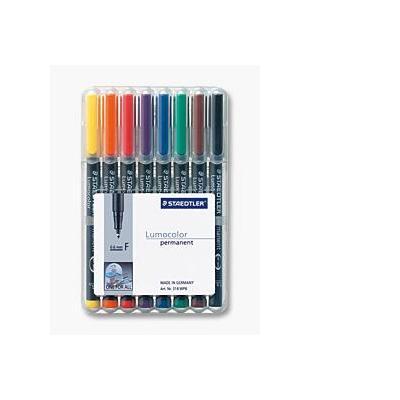 Staedtler Set of 8 colours in box, Line width F - fine ( 0.6 mm) Marker - Zwart, Transparant