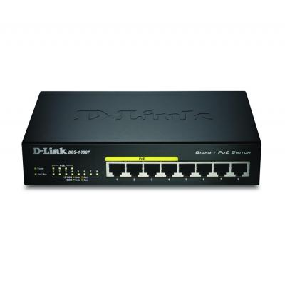 D-Link DGS-1008, 8-Port / Gigabit Ethernet / 16 Gbps, MDI/MDIX, Black Switch - Zwart