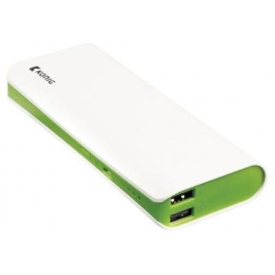 König powerbank: Power bank 15000mAh, 1 x USB 2.1A + 1 x USB 1A - Groen, Wit