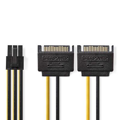 Nedis Interne Voedingskabel, 2x SATA 15-Pins Male - PCI Express Female, 0,15 m, Diverse - Zwart, Geel