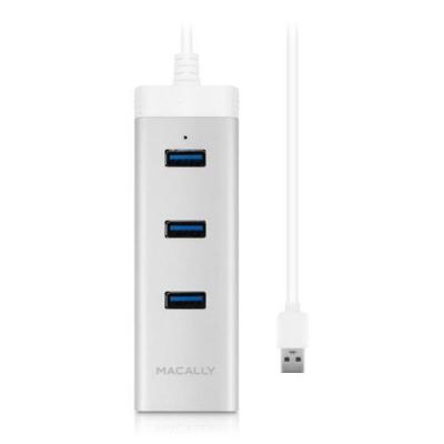 Macally hub: 3 port USB 3.0 hub with Gigabit Ethernet adapter - Grijs