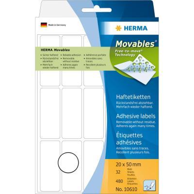 Herma etiket: Multi-purpose labels 20x50 mm white Movables/removable paper matt 480 pcs - Wit