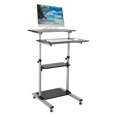 Techly Compact Height-Adjustment Mobile Cart - Zwart