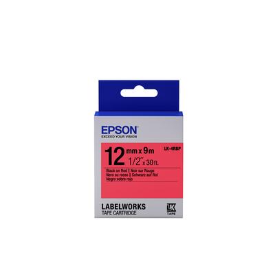 Epson Pastel Tape- LK-4RBP Pastel Blk/Red 12/9 Labelprinter tape