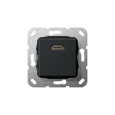 """GIRA Basiselement HDMI """"High Speed with Ethernet"""" Verloopkabel, zwart mat Wandcontactdoos"""