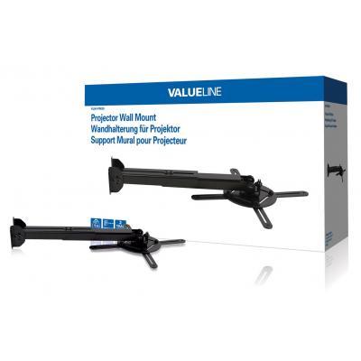 Valueline projector plafond&muur steun: Projector wall mount 10 kg/22 lbs - Zwart