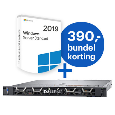 DELL PowerEdge R440 + Microsoft Windows 2019 Standard bundel Server - Zwart