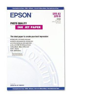 Epson fotopapier: Photo Quality Ink Jet Paper, DIN A3+, 104g/m², 100 Vel - Wit