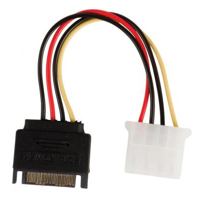 Valueline : Internal power adapter cable SATA 15-pin male - Molex female 0.15 m multicolour - Zwart, Rood, Wit, Geel