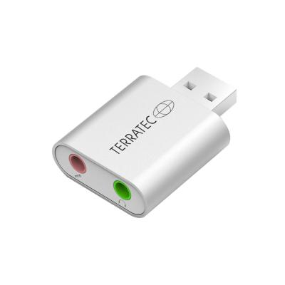 Terratec : USB A to 2 x 3.5mm, aluminium casing, 16-bit, 44.1 and 48 kHz - Zilver