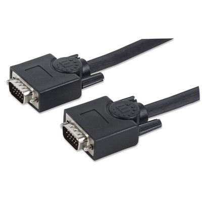 Manhattan SVGA Monitor Cable, HD15, Male to Male, 10m, Shielded, Black, Polybag VGA kabel  - Zwart