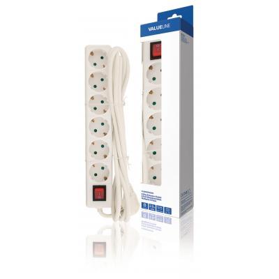 Valueline batterij: Valueline, 6-wegs Schuko Stekkerdoos Kabel 3m (Wit)