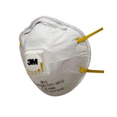 3m masker: Fijnstofmasker met ventiel in cupvorm - Wit, Geel