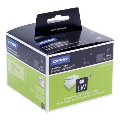 Dymo etiket: Transparent Address Labels - Zwart, Transparant