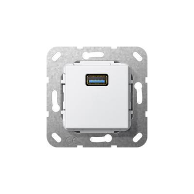 GIRA Basiselement USB 3.0 Type A Verloopkabel, zuiver wit glanzend Wandcontactdoos