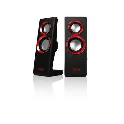 Sweex Speaker: 2.0 Speaker Set Purephonic 20 Watt Red USB - Zwart, Rood