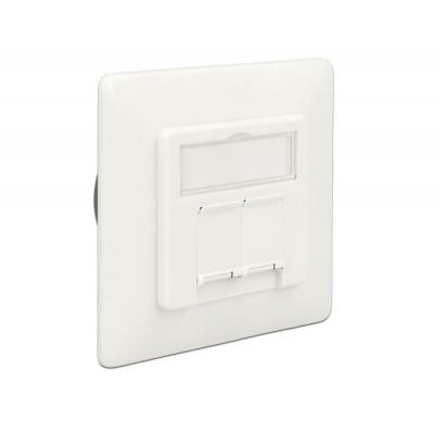Delock wandcontactdoos: Modular Wall Outlet flush mount 2 Port Cat.6A LSA - Wit