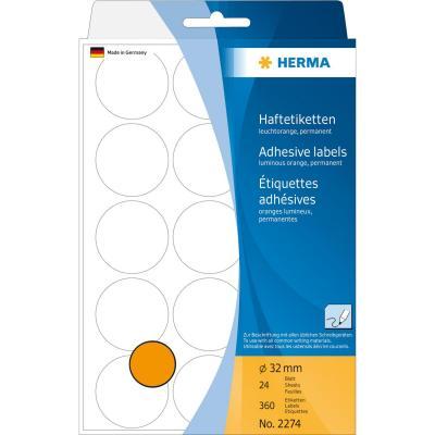Herma etiket: Universele etiketten/Kleur punten ø 32mm fluor oranje voor handmatige opschriften 360 St.