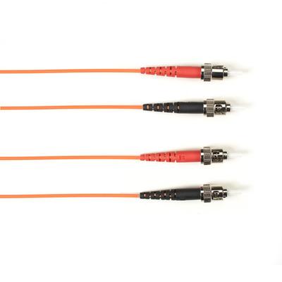 Black Box OM3 50-Micron Multimode Fiber Optic Patch Cable - OFNR PVC, ST-ST, Orange, 1-m (3.2-ft.) Fiber optic .....