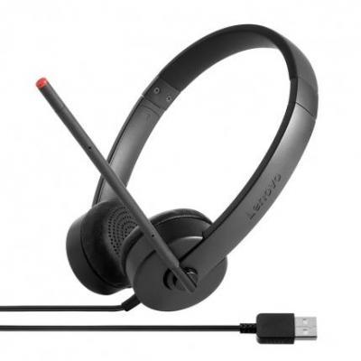 Lenovo headset: Stereo USB - Zwart